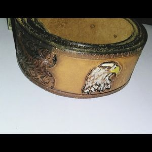 Vintage Western Style Hand-tooled leather belt